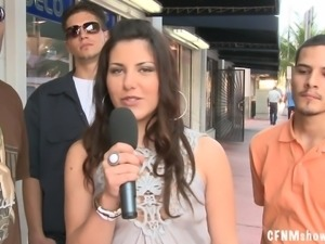 Some reality in public with a smoking hot brunette reporter
