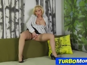 Russian stockings milf Olga sex with a boy