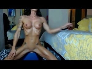 Hot Muscle Chic Rides Dildo