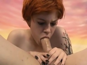 Short Haired Whore Ava Little Gagging On Dudes Dick