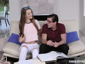Beautiful girl has her nerdy stepbrother deeply fucking her wet pussy