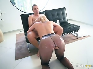 Blonde Brooklyn Chase with giant jugs asks Keiran Lee