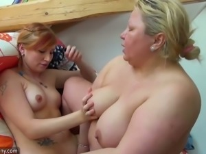 Enjoying some passionate lesbian sex with my fat mature friend