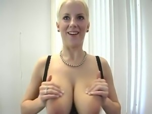 Awesome super bosomy blonde bitch was fucking with some sex toys