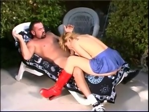 Wanton blond slut in red boots Autumn Haze had nasty sex with her buddy in...