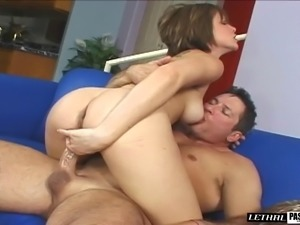 Chick with a trimmed pussy wants to play with a dick