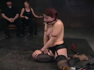 Kinky redhead slut likes her some intense bondage fun