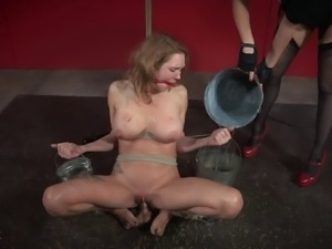 Painful strap-on treatment for the innocent babe in the basement