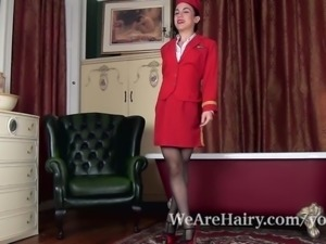 Luna O dressed for work strips and plays naked