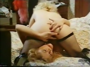 Exquisite lavish vintage lesbian action of two hot blondies