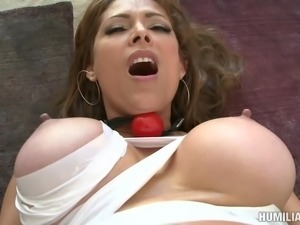 Luscious brunette MILF gets bound and drilled with toys and a hard rod