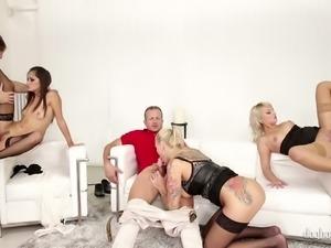 Luxury escort ladies pleasing a bunch of horny studs in dirty orgy