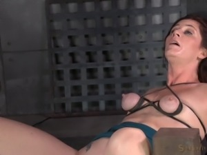 Sexy bondage milf drilled with sex machine in BDSM porn