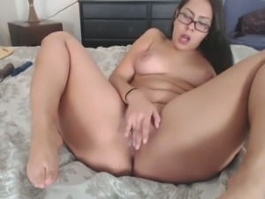 Dildo addicted nerdy brunette chick with big tits was using a dildo