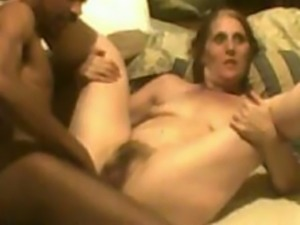 Mature granny takes my big black dick in her hairy cunt