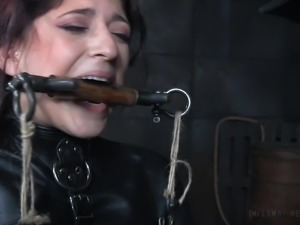 Closeup seen of toy fetish babe getting tortured in BDSM shoot