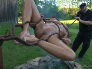 Horny master comes close to roasting his slave on a spit