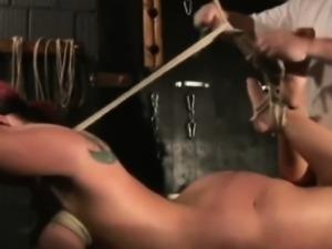 Busty redhead boobs bondage babe naked shaved