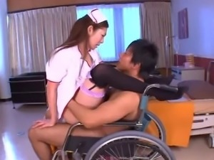 Pretty nurse from the Far East successfully cures the guys with pussy