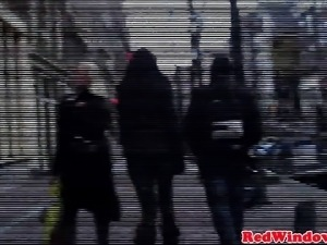 Dutch whore blows client and receives oral
