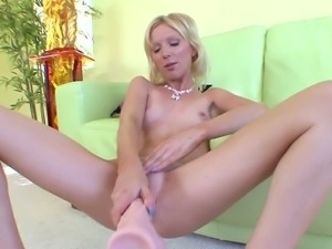 Leggy blond haired bitch Alexia Lynn nails her muff with giant sex toy rough