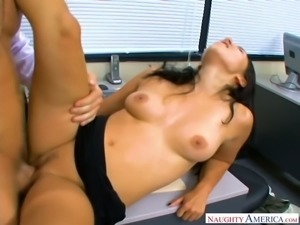 Fuck hungry boss bangs curvy raven haired sex doll Roxy Jezel in his office...