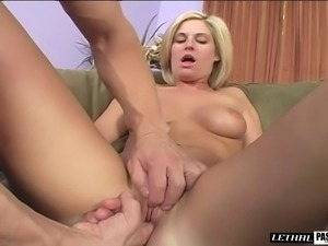 Sexy blonde with natural tits banging on big cock hardcore
