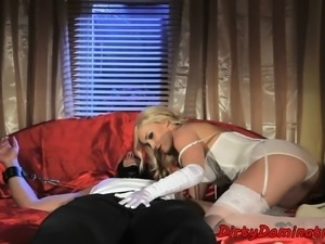 Perfect eurobabe fucks her slave in chains