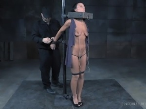 Skinny chav London River gets drilled with toys in the dungeon