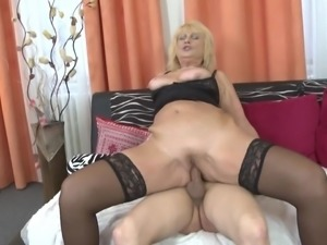 Gorgeous old mom seduce young horny son