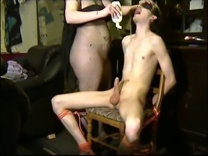 Fierce mistress sucking my dick while I am tied up to the chair
