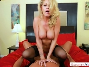 Pretty looking tattooed blondie Jessa Rhodes bounces on massive dick of her...