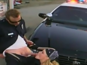 Policeman decides to punish the flamboyant chick with his stiff dick