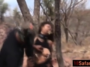 Curly haired African babe gets fucked in wild foursome