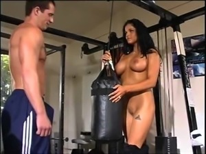 Amber gets her pussy licked in the gym before fucking in doggy style