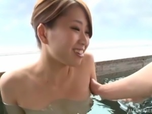 Japanese model with big natural tits giving dick blowjob