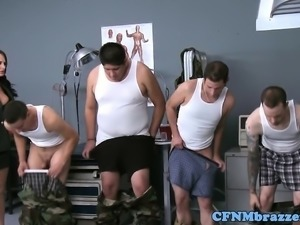 CFNM military babe cockriding in trio