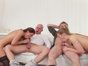 Fair haired leggy sweetie Alexis Crystal participates in disgusting orgy scene