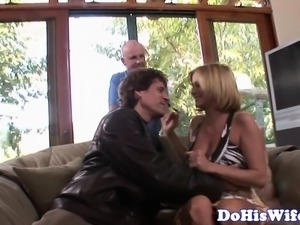 Curvy wife banged hard in front of hubby