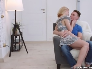 Handsome dude and a petite blonde having hard sex on the carpet