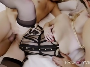 Gorgeous blonde pornstar with a perfect body enjoys being slammed in a...