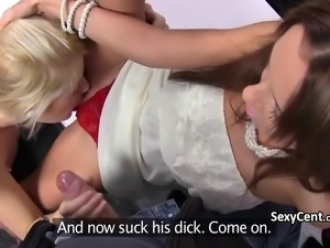 Blonde pleased cameraman and agent