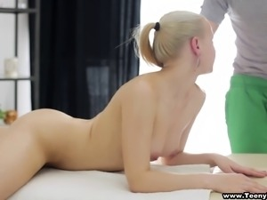 Petite Molly receives a hot massage before she gets bashed