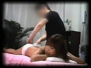 Sexy Asian girl with perky titties has a masseur banging he