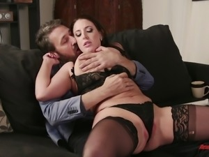 Busty Angela White seduces a mature hunk for a nasty shag