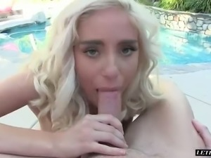 After hot oral session lusty blond hoe Naomi Woods gets her fanny nailed in...