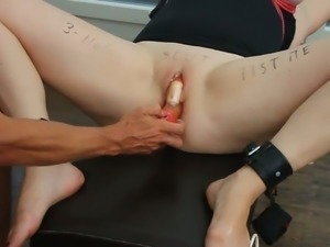Amazing submissive cam wife with big rack was teased with huge dildos
