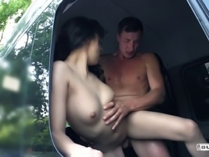 Khadisha Latina gets naughty with her firned's boner in a back seat