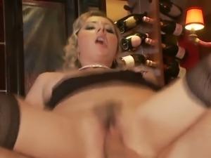 Insatiable blonde slut fucking anally in the bar