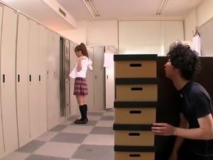 Locker room handjob and blowjob from an Asian babe makes him cum